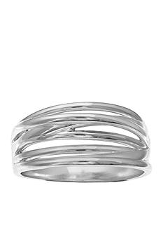 Belk Silverworks Fine Silver Plated Polished Crossover Ring