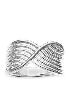 Belk Silverworks Feminine Silver-Tone Sleek Crossover Ring