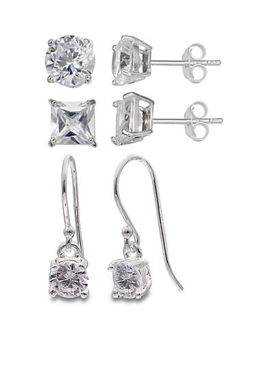 Belk Silverworks Set of 3 Cubic Zirconia Drop and Stud Earring