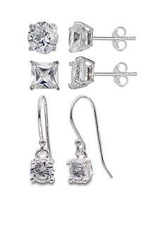 Belk Silverworks Set of 3 Cubic Zirconia Drop and Stud Earring