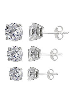 Belk Silverworks Set of 3 Graduated Size Round Cubic Zirconia Stud Earrings