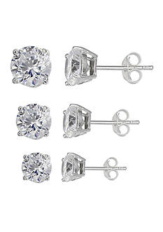 Belk Silverworks Simply Sterling Trio Set Cubic Zirconia Studs Earrings