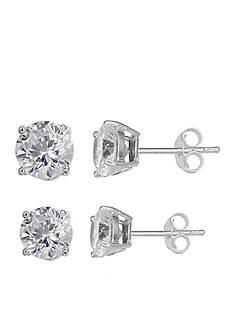 Belk Silverworks Simply Sterling Duo Set Cubic Zirconia Stud Earrings