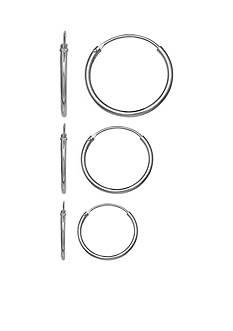 Belk Silverworks Sterling Silver Trio Set Polished Endless Hoop Earrings