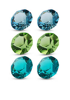 Belk Silverworks Charming Lockets Blue and Green 6 Piece Crystal Set