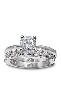 Belk Silverworks Bridal Set of Cubic Zirconia Engagement Ring and Band