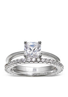 Belk Silverworks Bridal Engagement Ring and Eternity Band Set