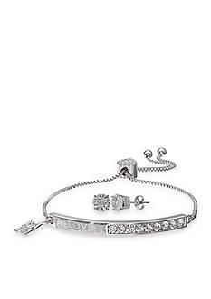 Belk Silverworks Fine Silver Plated Love Mom Adjustable Bracelet and Clear Crystal Stud Earrings Set
