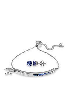 Belk Silverworks Fine Silver Plated Swarovski® Crystal Adjustable Faith Bracelet and Sapphire Crystal Stud Earrings Set