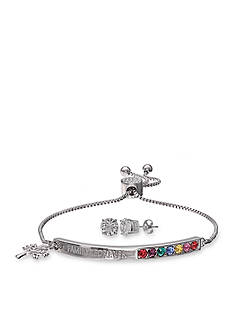 Belk Silverworks Fine Silver Plated Swarovski Crystal Adjustable Family Forever Bracelet and Clear Crystal Stud Earrings Set