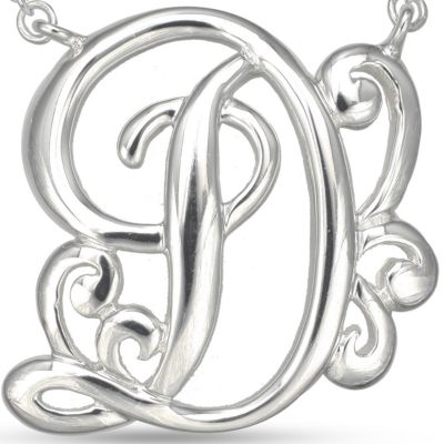 Jewelry & Watches: Belk Silverworks Fashion Jewelry: D Belk Silverworks Fine Silver Plated Monogram Initial Pendant Necklace