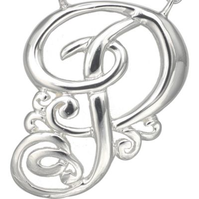 Jewelry & Watches: Belk Silverworks Fashion Jewelry: P Belk Silverworks Fine Silver Plated Monogram Initial Pendant Necklace