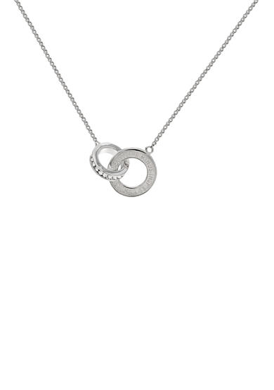 Belk Silverworks Fine Silver Plated Beautiful Minds Inspire Others Interlocking Swarovski® Crystal Rings Necklace 18-in.