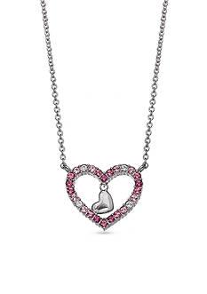 Belk Silverworks Fine Silver Plate Pink Swarovski Heart Necklace