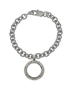Belk Silverworks Charming Lockets Multi-Color Crystal Locket Bracelet