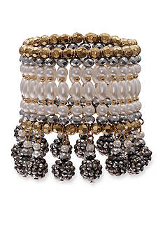Jules B Gold-Tone Girls & Their Pearls Beaded Stretch Bracelet