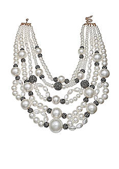 Jules B Gold-Tone Chunky Pearl Multistrand Necklace