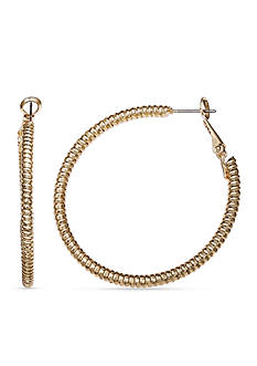 Jules B Gold Tone Snake Charmer Gold Diamond Cut Hoop Earrings