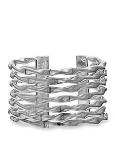 Jules B Silver Tone Snake Charmer Wide Twisted Cuff Bracelet