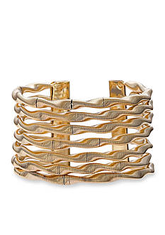 Jules B Gold-Tone Snake Charmer Wide Twisted Cuff Bangle