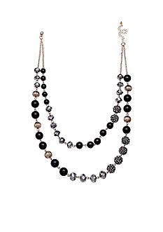 Jules B Gold-Tone Little Black Dress Beaded Necklace