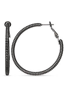 Jules B Hematite-Tone Snake Charmer Hoop Earrings