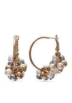 Jules B Gold-Tone Girls & Their Pearls Hoop Earrings