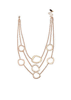 Jules B Gold-Tone Going In Circles Hammered Multi-Strand Necklace