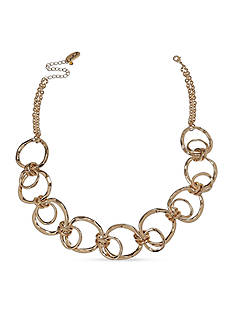 Jules B Gold-Tone Gilt Trip Shirt Ring Links Necklace