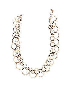Jules B Gold-Tone Gilt Trip Large Circle Link Long Chain Necklace