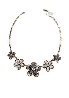 Jules B Gold Tone Gilt Trip Crystal Floral Statement Necklace