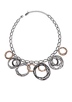 Jules B Tri-Tone Gilt Trip Dangling Rings Statement Necklace