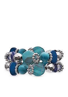 Jules B Silver-Tone Code Blue 2-Piece Beaded Bracelet Set