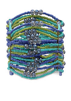 Jules B Gold-Tone Coastal Living Multi Row Seed Bead Stretch Bracelet