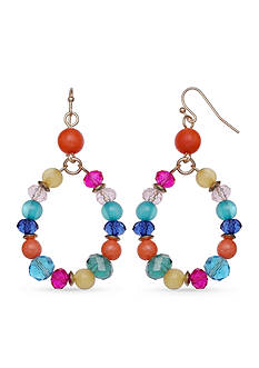 Jules B Gold-Tone Reigning In Rio Multi Bright Beaded Teardrop Earrings