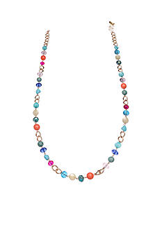 Jules B Gold-Tone Reigning In Rio Long Multi Bright Beaded Necklace
