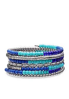 Jules B Silver Tone Code Blue Coil Bracelet
