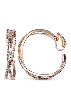Jules B Gold-Tone Going In Circles Crossover C-Hoop Earrings