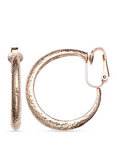 Jules B Gold-Tone Going In Circles Textured Hoop Earrings
