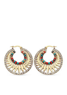 Jules B Gold-Tone Nantucket Crystal Hoop Earrings