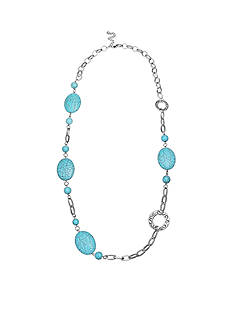 Jules B Silver-Tone Code Blue Turquoise Long Chain Necklace