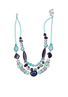 Jules B Silver-Tone Code Blue Multi-Strand Necklace