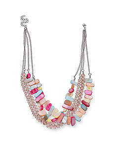 Jules B Silver Tone Flip Flops & Crop Tops Pastel Shell Layered Necklace