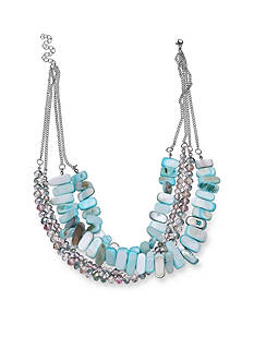 Jules B Silver-Tone Flip Flops & Crop Tops Turquoise Shell Layered Necklace