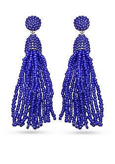 Jules B Silver-Tone Blue Tassel Drop Earrings