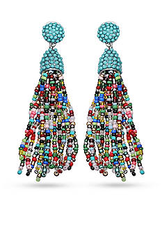 Jules B Silver-Tone Colorful Tassel Drop Earrings