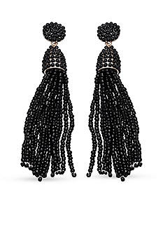 Jules B Gold Tone Black Tassel Drop Earrings