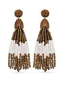 Jules B Gold-Tone Bronze Tassel Drop Earrings