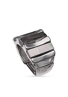 Jules B Hematite-Tone Polished Mother-of-Pearl Bars Stretch Ring
