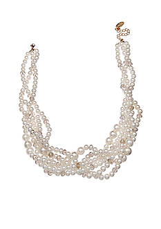 Jules B Gold-Tone Pearl Braided Multi-Strand Necklace